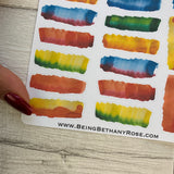Water colour paint brush stroke header stickers (DPD1072)