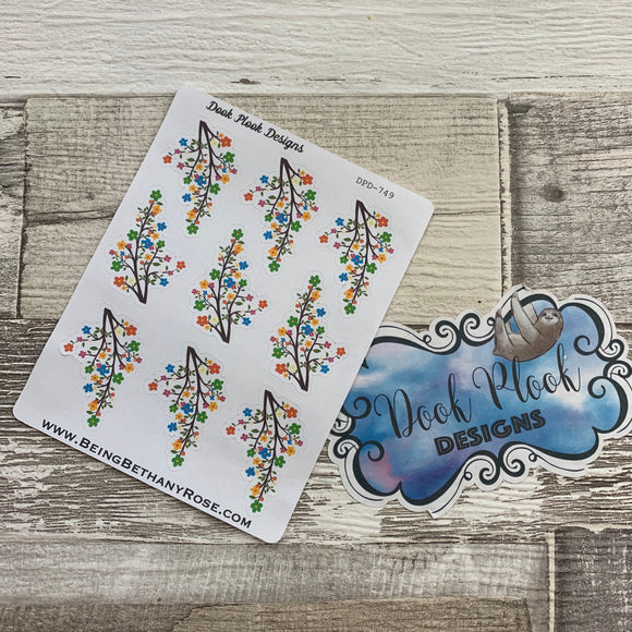 Decorative branch with flowers stickers (DPD749)