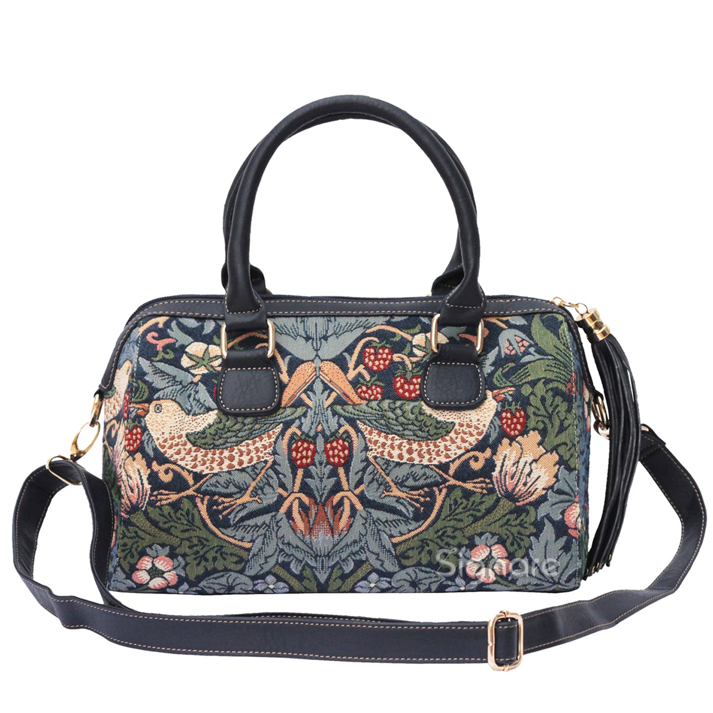WILLIAM MORRIS STRAWBERRY THIEF BLUE TASSEL BAG CROSSBODY HANDBAG - www.signareusa.com