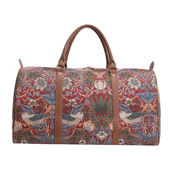 BHOLD-STRD | William Morris Strawberry Thief Red Big Holdall/Duffel Bag - www.signareusa.com