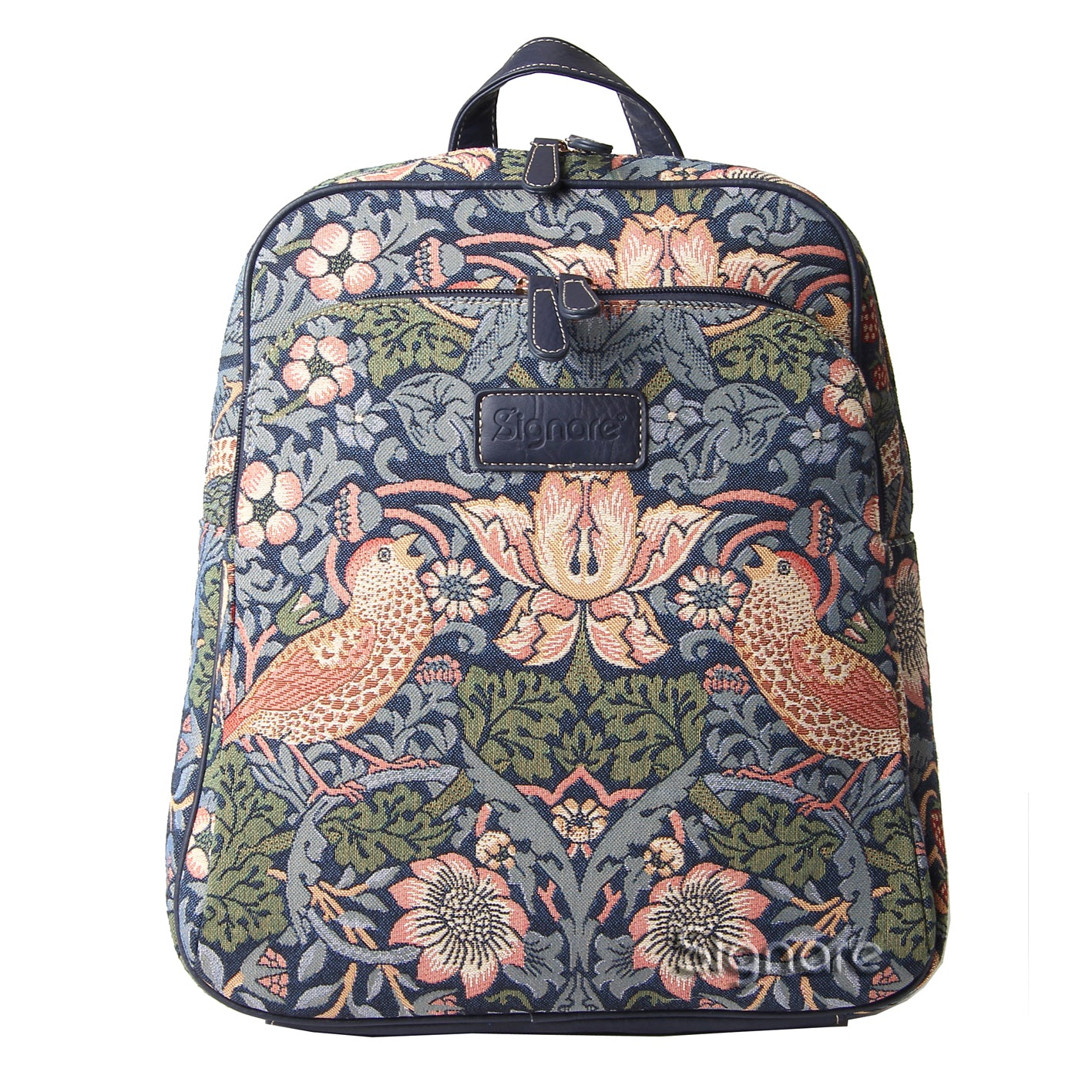 BKPK-STBL | William Morris Strawberry Thief Blue Backpack - www.signareusa.com