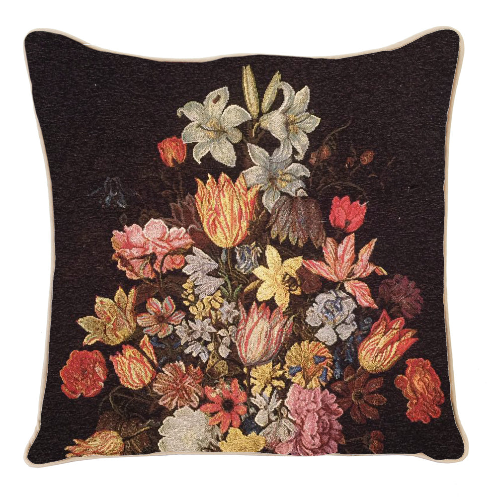 CCOV-ART-AB-STILL | AMBROSIUS BOSSCHAERT A STILL LIFE OF FLOWERS IN A WAN-LI VASE PILLOWCASE/CUSHION COVER 18X18 INCH - www.signareusa.com