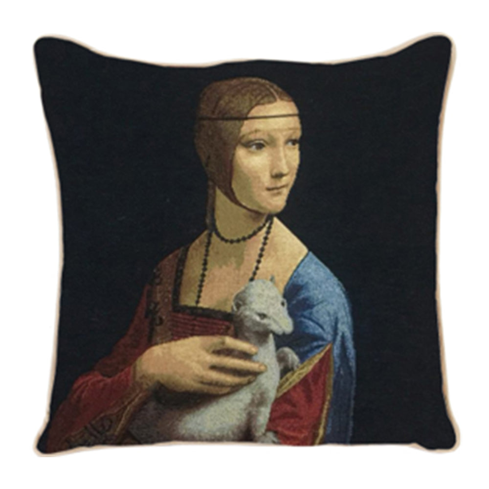 CCOV-ART-LDV-ERMINE | Lady With An Ermine Tapestry Pillowcase Cushion Cover 18 x 18 Inch - www.signareusa.com