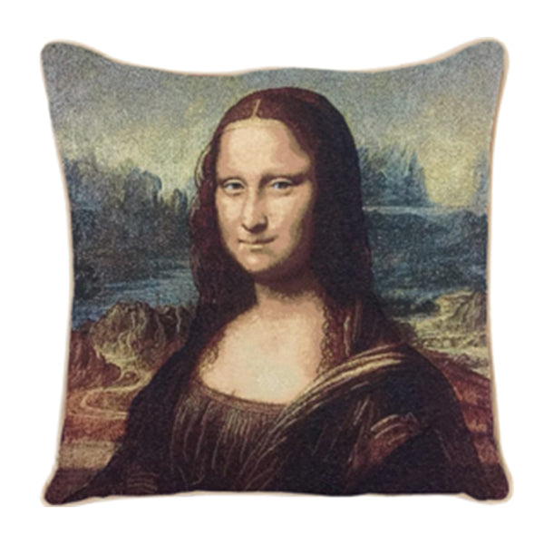 CCOV-ART-LDV-MONA | Mona Lisa Tapestry Pillowcase Cushion Cover 18 x 18 Inch - www.signareusa.com