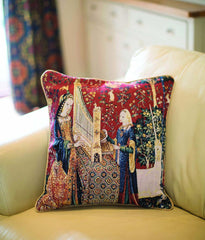 CCOV-ART-LU-HE | LADY AND UNICORN SENSE OF HEARING Pillowcase/CUSHION COVER | DECORATIVE DESIGN FASHION HOME PILLOW 18X18 INCH - www.signareusa.com