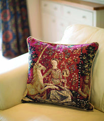 CCOV-ART-LU-SI | LADY AND UNICORN SENSE OF SIGHT Pillowcase/CUSHION COVER | DECORATIVE DESIGN FASHION HOME PILLOW 18X18 INCH - www.signareusa.com