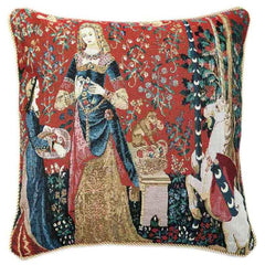 CCOV-ART-LU-SM | LADY AND UNICORN SENSE OF SMELL Pillowcase/CUSHION COVER | DECORATIVE DESIGN FASHION HOME PILLOW 18X18 INCH - www.signareusa.com
