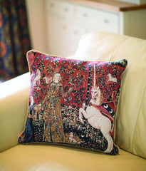 CCOV-ART-LU-TA | LADY AND UNICORN SENSE OF TASTE Pillowcase/CUSHION COVER | DECORATIVE DESIGN FASHION HOME PILLOW 18X18 INCH - www.signareusa.com