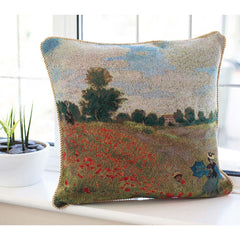 CCOV-ART-MONET-1 | CLAUDE MONET POPPY FIELD Pillowcase/CUSHION COVER | DECORATIVE DESIGN FASHION HOME PILLOW 18X18 INCH - www.signareusa.com