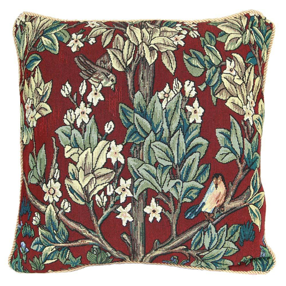 CCOV-ART-MORRIS-3 | WILLIAM MORRIS TREE OF LIFE RED Pillowcase/CUSHION COVER | DECORATIVE DESIGN FASHION HOME PILLOW 18X18 INCH - www.signareusa.com