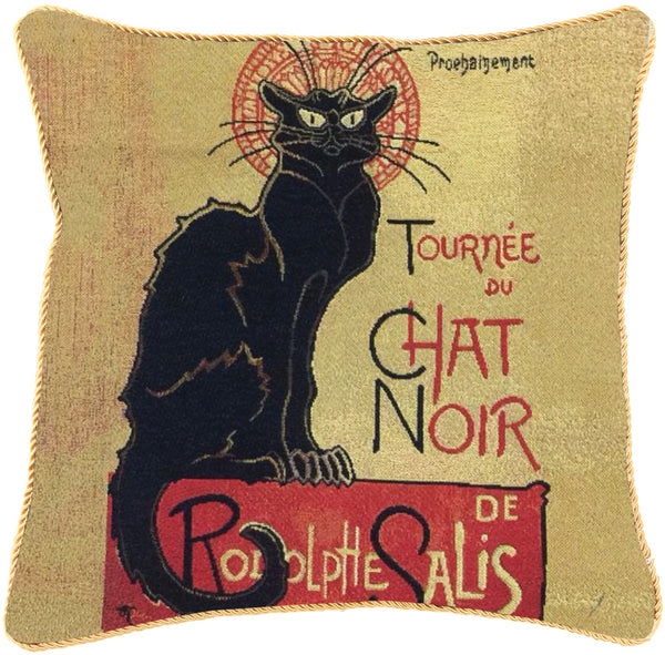 CCOV-ART-TS-CHAT | STEINLEN TOURNEE DU CHAT NOIR PILLOWCASE/CUSHION COVER | DECORATIVE DESIGN FASHION HOME PILLOW 18X18 INCH - www.signareusa.com