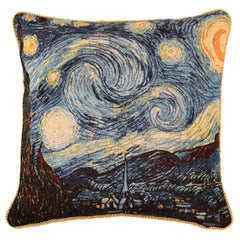 CCOV-ART-VANGOGH-1 | VAN GOGH STARRY NIGHT PILLOWCASE/CUSHION COVER | DECORATIVE DESIGN FASHION HOME PILLOW 18X18 INCH - www.signareusa.com