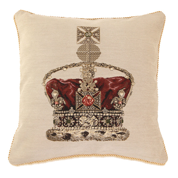 CCOV-CRWWT | CROWN PILLOWCASE/CUSHION COVER | DECORATIVE DESIGN FASHION HOME PILLOW 18X18 INCH - www.signareusa.com