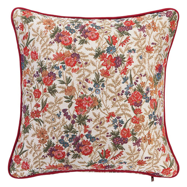 CCOV-FLMD | FLOWER MEADOW TAPESTRY PILLOWCASE/CUSHION COVER 18X18 INCH - www.signareusa.com