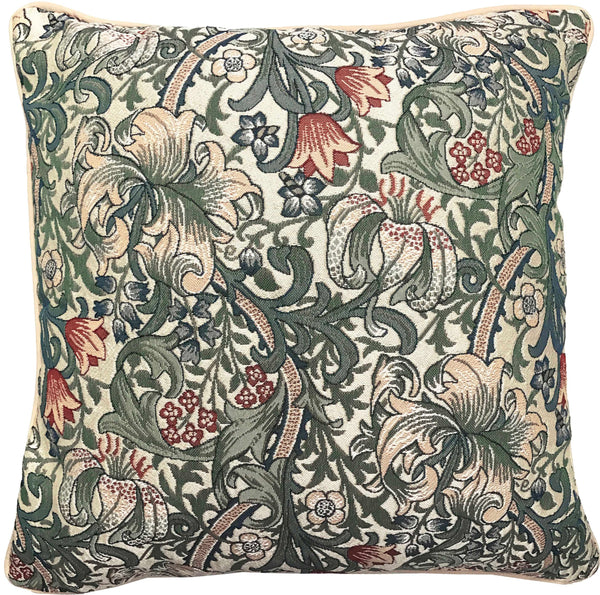 CCOV-GLILY | WILLIAM MORRIS GOLDEN LILY PILLOWCASE/CUSHION COVER | DECORATIVE DESIGN FASHION HOME PILLOW 18X18 INCH - www.signareusa.com