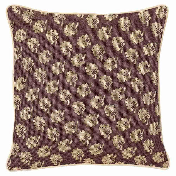 CCOV-JANE | JANE AUSTEN'S BROWN OAK PILLOWCASE/CUSHION COVER | DECORATIVE DESIGN FASHION HOME PILLOW 18X18 INCH - www.signareusa.com