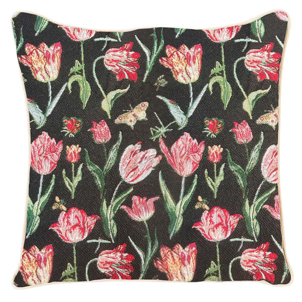 CCOV-JMTBK | JACOB MARREL'S TULIP BLACK PILLOWCASE/CUSHION COVER | 18X18 INCH PILLOWCASE - www.signareusa.com