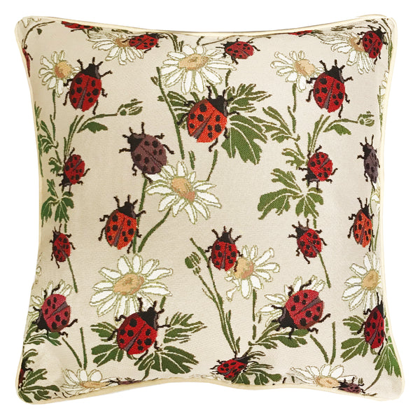 CCOV-LDBD | LADYBUG PILLOWCASE/CUSHION COVER | DECORATIVE DESIGN FASHION HOME PILLOW 18X18 INCH - www.signareusa.com