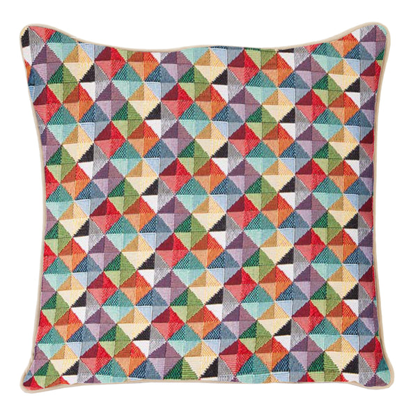 CCOV-MTRI | MULTICOLOR TRIANGLE PILLOWCASE/CUSHION COVER | DECORATIVE DESIGN FASHION HOME PILLOW 18X18 INCH - www.signareusa.com