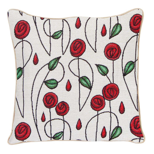 CCOV-RMSP | RENNIE MACKINTOSH SIMPLE ROSE PILLOWCASE/CUSHION COVER | DECORATIVE DESIGN FASHION HOME PILLOW 18X18 INCH - www.signareusa.com