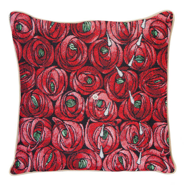 CCOV-RMTD | RENNIE MACKINTOSH ROSE AND TEAR DROP PILLOWCASE/CUSHION COVER | DECORATIVE DESIGN FASHION HOME PILLOW 18X18 INCH - www.signareusa.com