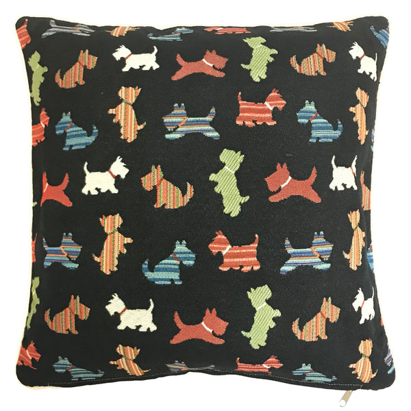 CCOV-SCOT | SCOTTIE DOG PILLOWCASE/CUSHION COVER | DECORATIVE DESIGN FASHION HOME PILLOW 18X18 INCH - www.signareusa.com