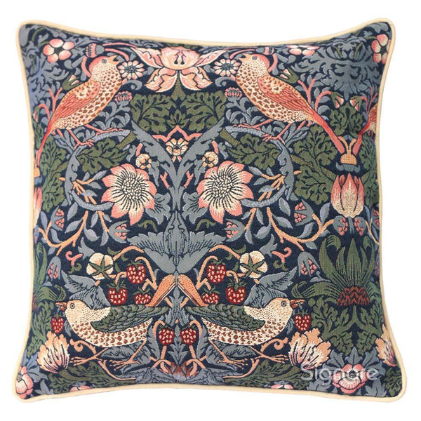 CCOV-STBL | WILLIAM MORRIS STRAWBERRY THIEF BLUE PILLOWCASE/CUSHION COVER | DECORATIVE DESIGN FASHION HOME PILLOW 18X18 INCH - www.signareusa.com