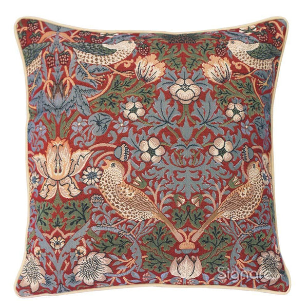 CCOV-STRD | WILLIAM MORRIS STRAWBERRY THIEF RED PILLOWCASE/CUSHION COVER | DECORATIVE DESIGN FASHION HOME PILLOW 18X18 INCH - www.signareusa.com