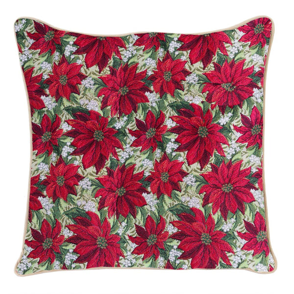 CCOV-XMAS-POIN | XMAS POINSETTIAS PILLOWCASE CUSHION COVER 18X18 INCH