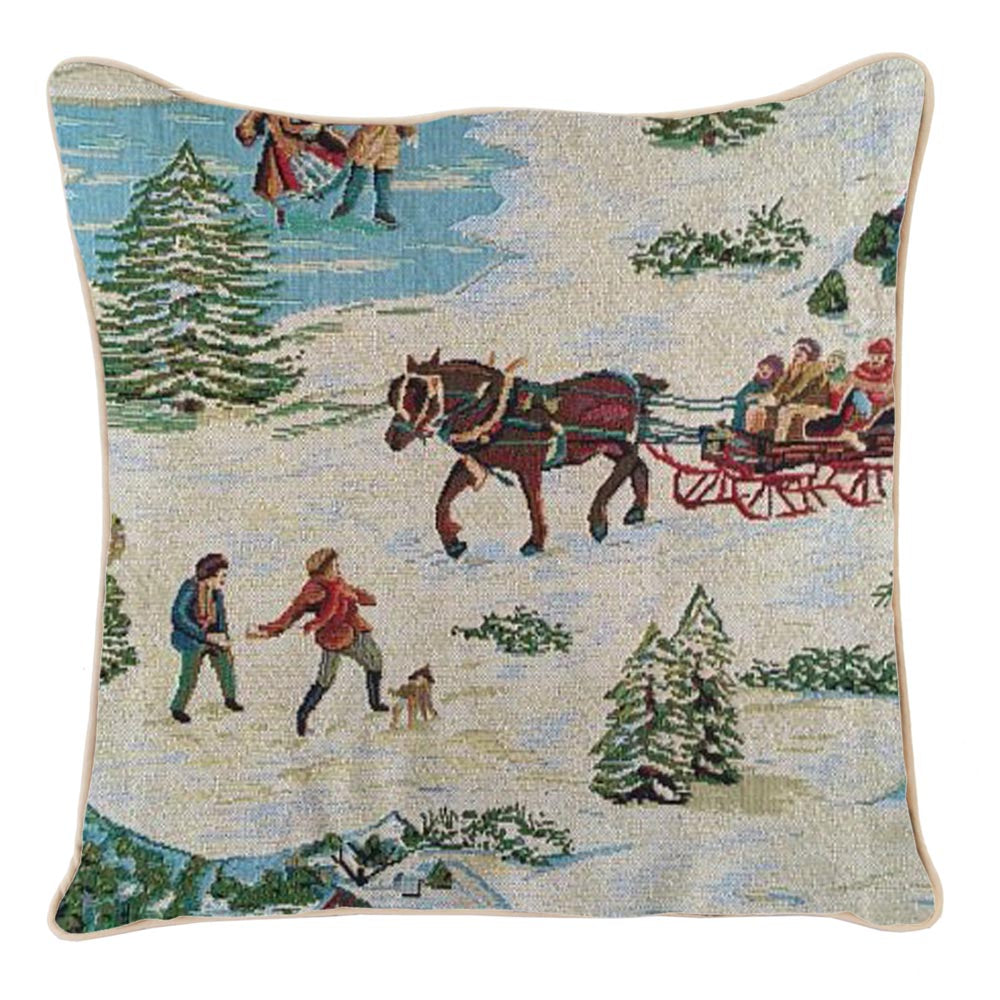 CCOV-XMAS-SLEIGH | XMAS SLEIGH PILLOWCASE CUSHION COVER 18X18 INCH