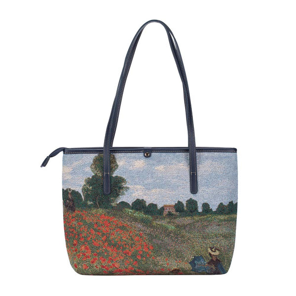 COLL-ART-CM-POPFL | Claude Monet Poppy Field College/Shoulder Tote Bag - www.signareusa.com