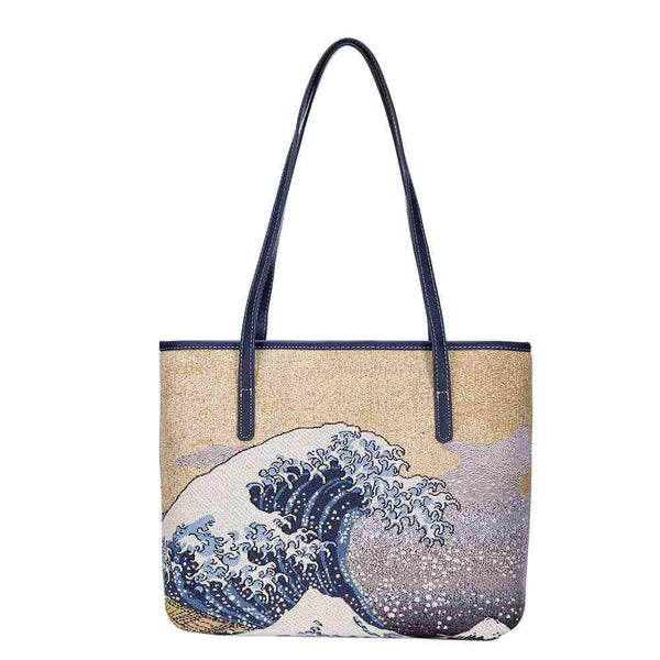 COLL-ART-JP-WAVE | Hokusai Great Wave off Kanagawa College/Shoulder Tote Bag - www.signareusa.com