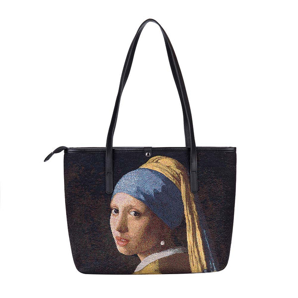 COLL-ART-JV-GIRL | Vermeer Girl with a Pearl Earring College/Shoulder Tote Bag - www.signareusa.com