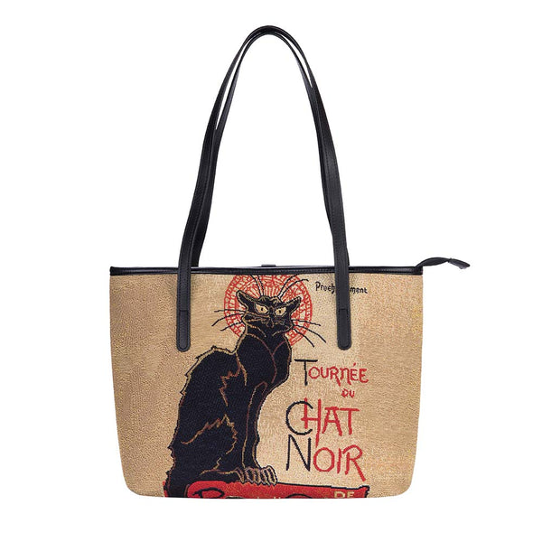 COLL-ART-TS-CHAT | STEINLEN - TOURNÉE DU CHAT NOIR College/Shoulder Tote Bag - www.signareusa.com