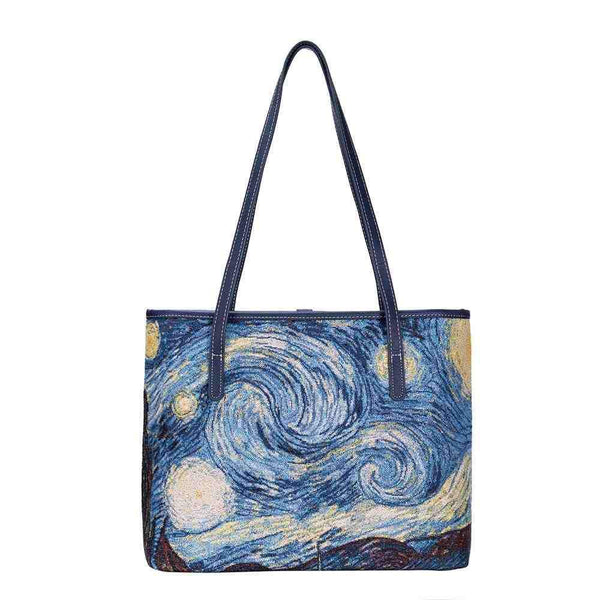 COLL-ART-VG-STAR | Van Gogh Starry Night College/Shoulder Tote Bag - www.signareusa.com