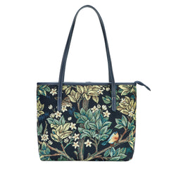 COLL-ART-WM-TLBL | William Morris Tree of Life Blue College/Shoulder Tote Bag - www.signareusa.com