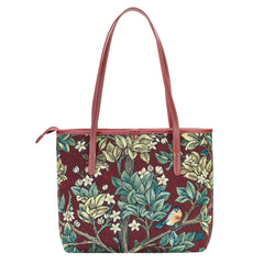 COLL-ART-WM-TLRD | William Morris Tree of Life Red College/Shoulder Tote Bag - www.signareusa.com