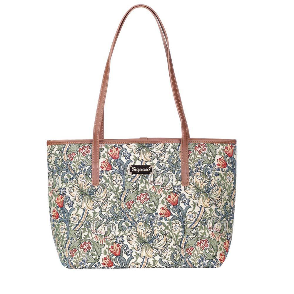 COLL-GLILY | William Morris Golden Lily College/Shoulder Tote Bag - www.signareusa.com