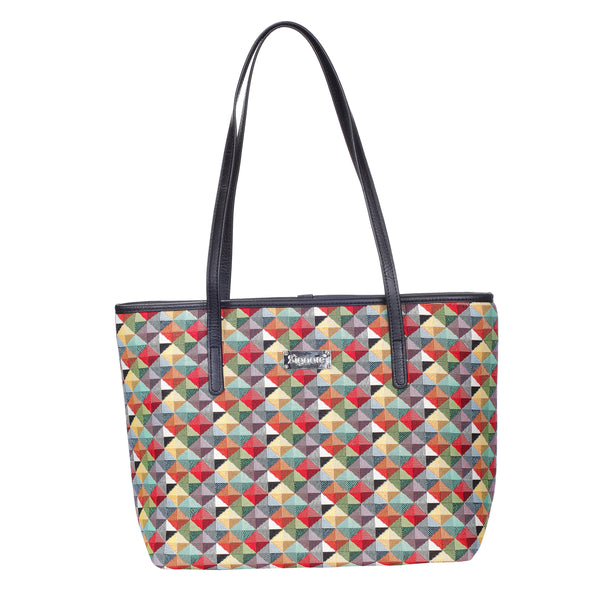 COLL-MTRI | Multicolor Triangle College/Shoulder Tote Bag - www.signareusa.com