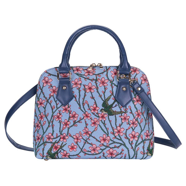 CONV-BLOS | Almond Blossom And Swallow Convertible Top Handle Purse Handbag - www.signareusa.com
