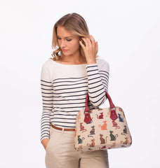 CONV-CHEKY | Cheeky Cat Convertible Top Handle Purse Handbag - www.signareusa.com
