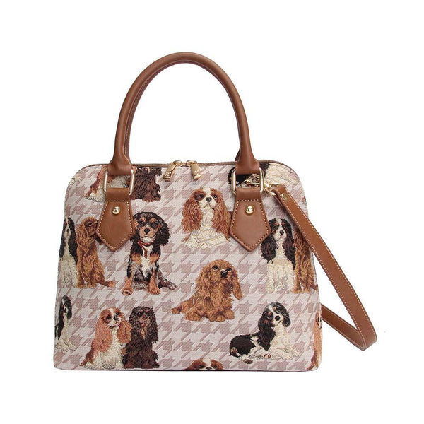 CONV-KGCS | King Charles Cavalier Spaniel Convertible Top Handle Purse Handbag - www.signareusa.com