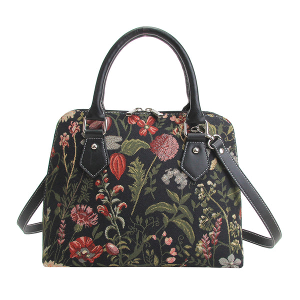 CONV-MGDBK | Morning Garden Black Convertible Top Handle Purse Handbag - www.signareusa.com