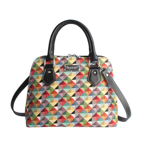CONV-MTRI | Multicolor Triangle Convertible Top Handle Purse Handbag - www.signareusa.com
