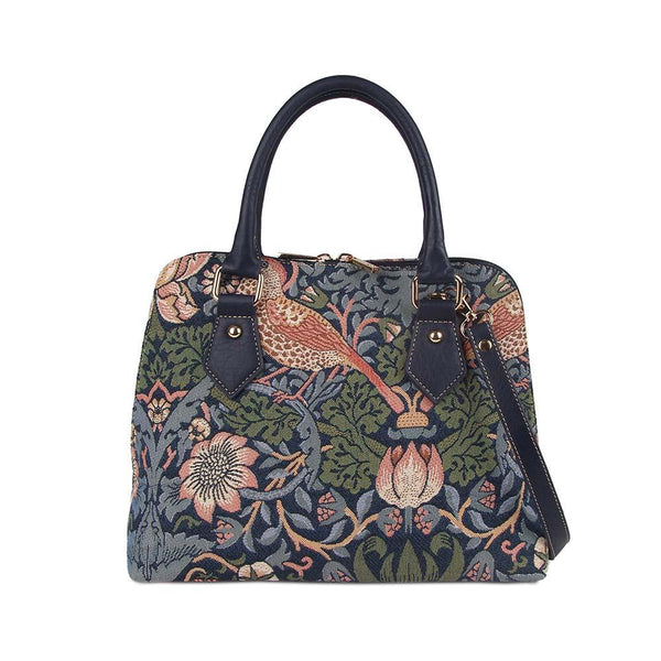 CONV-STBL | William Morris Strawberry Thief Blue Convertible Top Handle Purse Handbag - www.signareusa.com