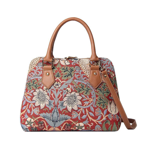 CONV-STRD | William Morris Strawberry Thief Red Convertible Top Handle Purse Handbag - www.signareusa.com