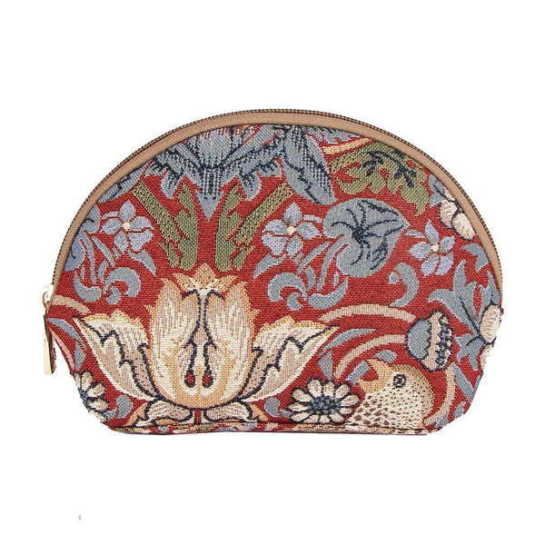 COSM-STRD | William Morris Strawberry Thief Red Cosmetic Make Up Bag - www.signareusa.com