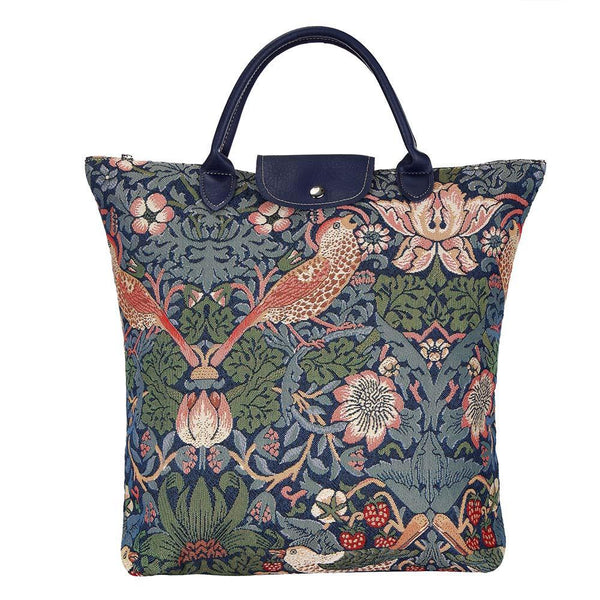 FDAW-STBL | WILLIAM MORRIS STRAWBERRY THIEF BLUE FOLDAWAY GROCERY BAG - www.signareusa.com