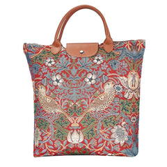 FDAW-STRD | WILLIAM MORRIS STRAWBERRY THIEF RED FOLDAWAY GROCERY BAG - www.signareusa.com