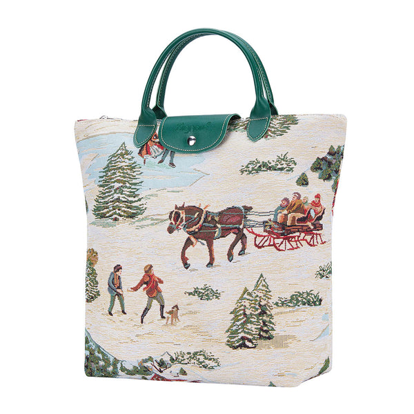 FDAW-XMAS-SLEIGH| XMAS SLEIGH FOLDABLE REUSABLE GROCERY BAG